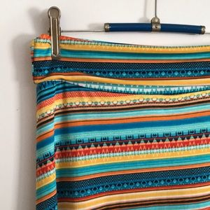 Tropical Summer Stripes Maxi Skirt Lularoe Medium